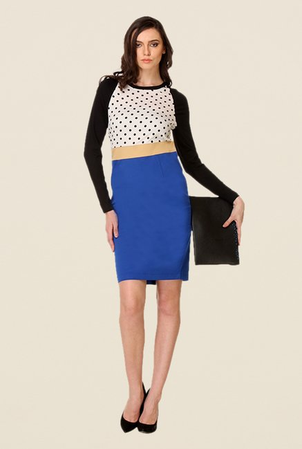Kaaryah White & Blue Polka Dot Dress