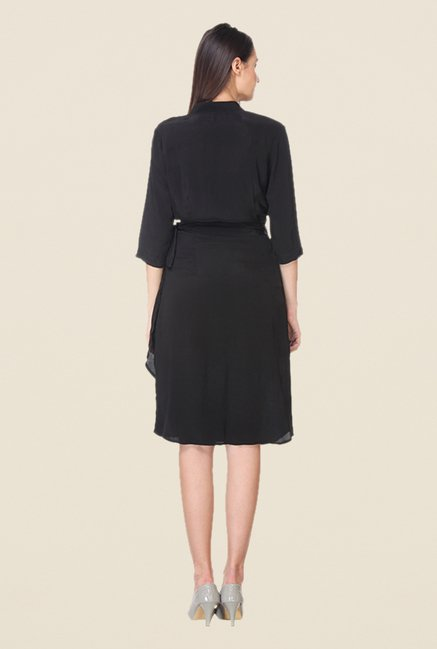 Kaaryah Black Solid Band Neck Dress