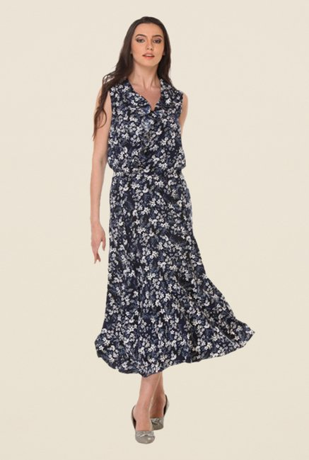 Kaaryah Indigo Floral Relaxed Fit Dress