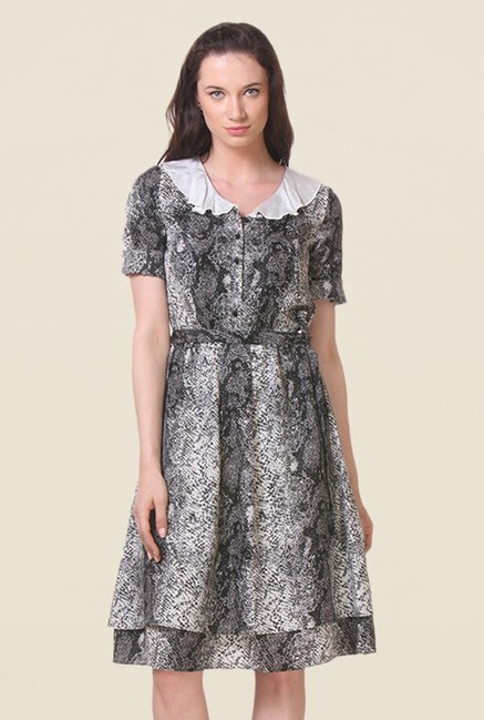 Kaaryah Black & Grey Animal Print Dress