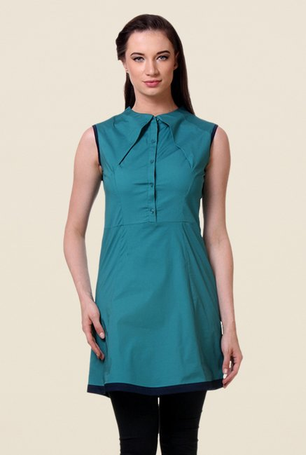 Kaaryah Teal Solid Sleeveless Dress