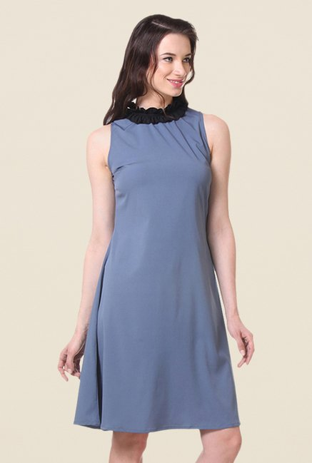 Kaaryah Blue Solid Relaxed Fit Dress