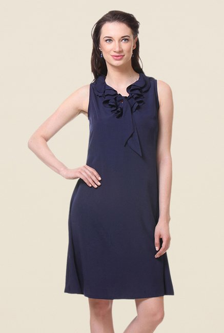 Kaaryah Navy Solid Relaxed Fit Dress