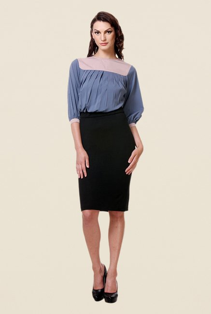 Kaaryah Blue & Black Solid Dress