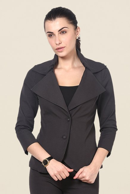 Kaaryah Dark Grey Solid Relaxed Fit Blazer