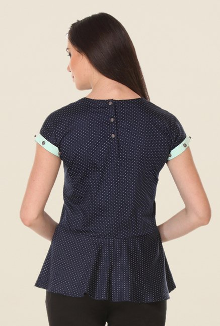 Kaaryah Navy Polka Dot Top