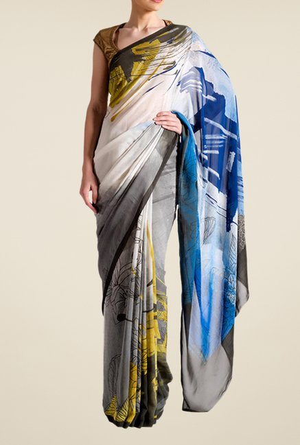 Satya Paul Grey & Blue Crepe Saree