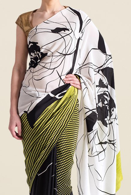 Satya Paul Lime & Black Crepe Saree