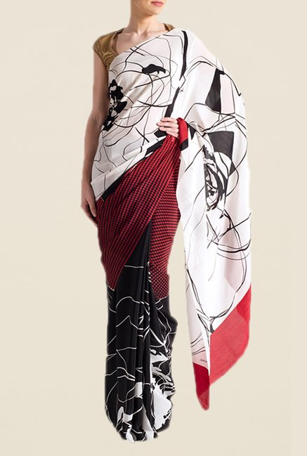 Satya Paul Red & Black Crepe Saree