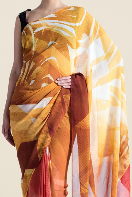 Satya Paul Mustard & Red Crepe Saree