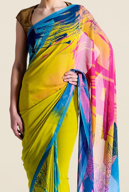 Satya Paul Olive Crepe Saree