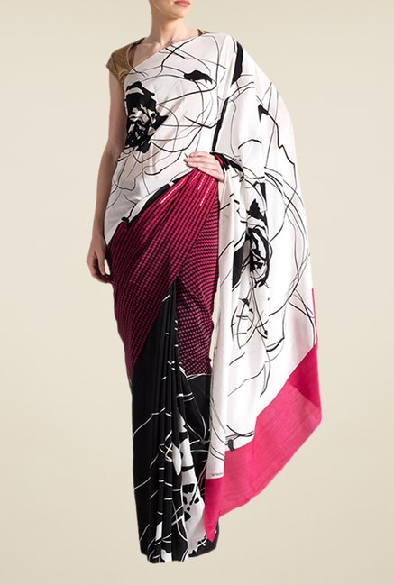 Satya Paul Pink & Black Super Georgette Saree