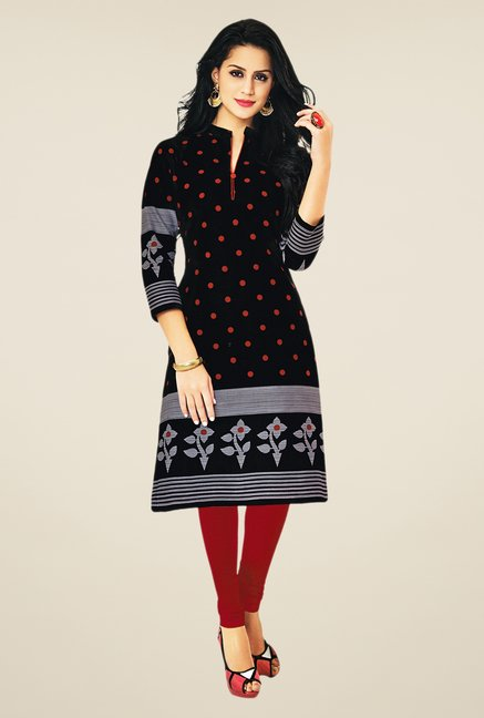 Salwar Studio Black Cotton Polka Dots Unstitched Kurti