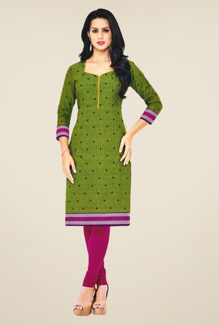 Salwar Studio Green Cotton Self Printed Unstitched Kurti