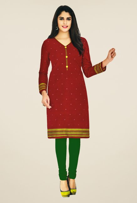 Salwar Studio Maroon Cotton Printed Unstitched Kurti