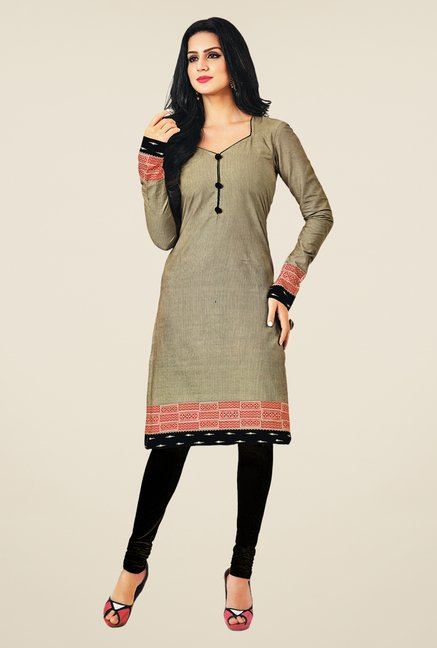 Salwar Studio Grey Cotton Self Printed Unstitched Kurti