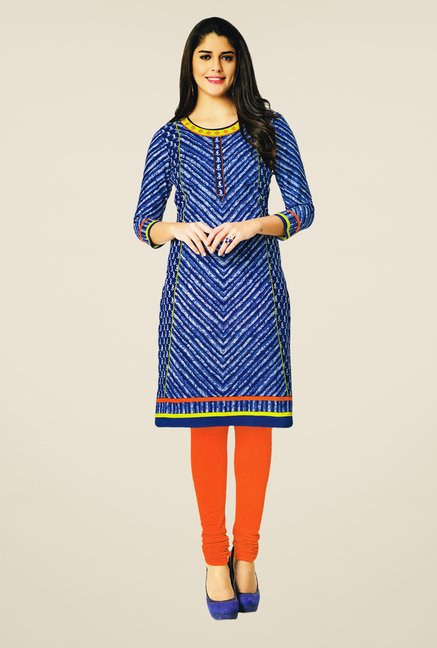 Salwar Studio Blue Cotton Self Printed Unstitched Kurti