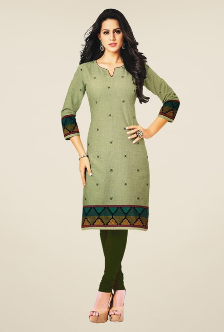Salwar Studio Olive Cotton Self Printed Unstitched Kurti