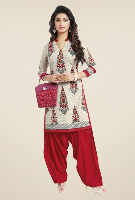 Salwar Studio Cream & Red Floral Print Unstitched Kurti