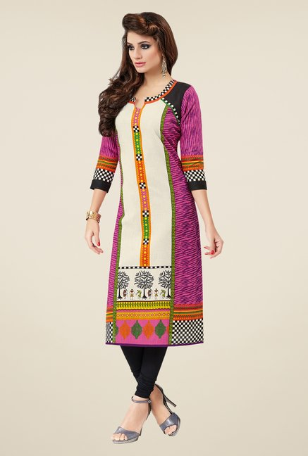 Salwar Studio Pink Cotton Khadi Printed Unstitched Kurti