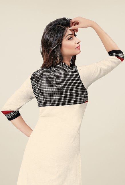 Salwar Studio Cream & Black Printed Unstitched Kurti