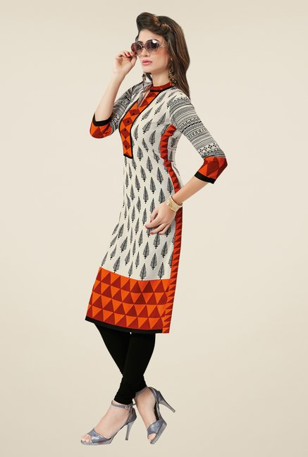 Salwar Studio Cream & Orange Printed Unstitched Kurti
