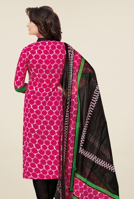 Salwar Studio Pink & Black Cotton Printed Dress Material
