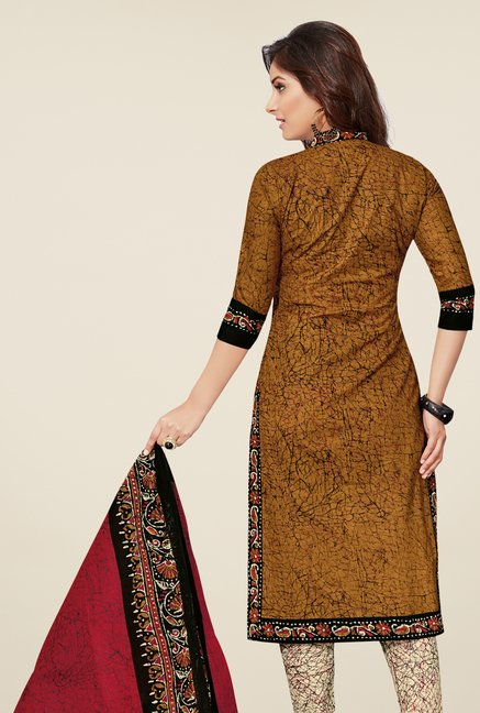 Salwar Studio Mustard & Beige Cotton Printed Dress Material