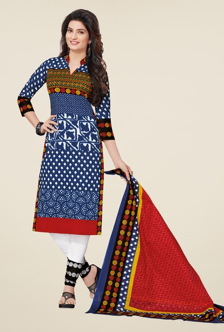 Salwar Studio Indigo & White Cotton Printed Dress Material