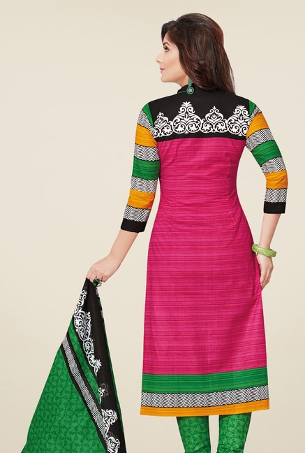 Salwar Studio Pink & Green Cotton Printed Dress Material