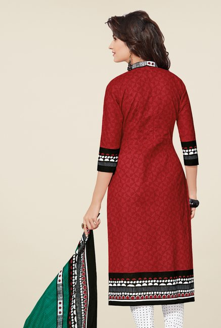 Salwar Studio Red & White Cotton Printed Dress Material