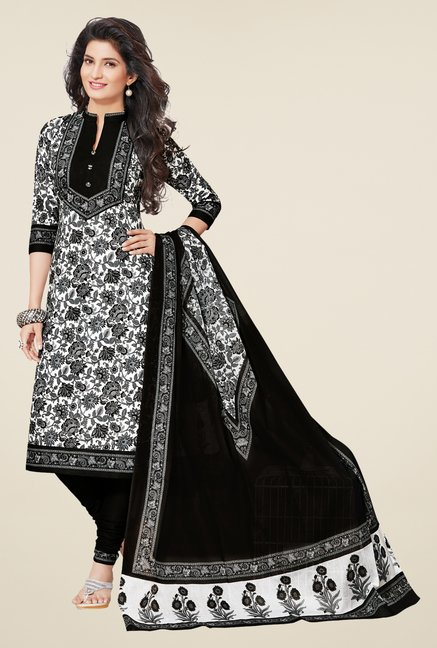 Salwar Studio White & Black Floral Print Dress Material