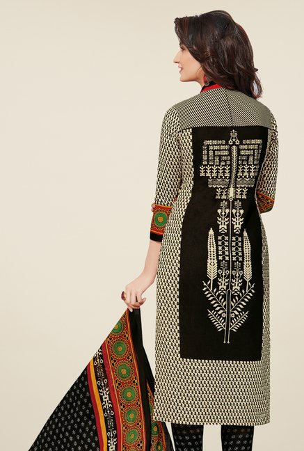 Salwar Studio Black & Red Cotton Ikkat Dress Material