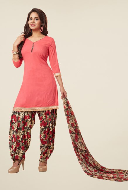 Salwar Studio Peach & Red Synthetic Solid Dress Material