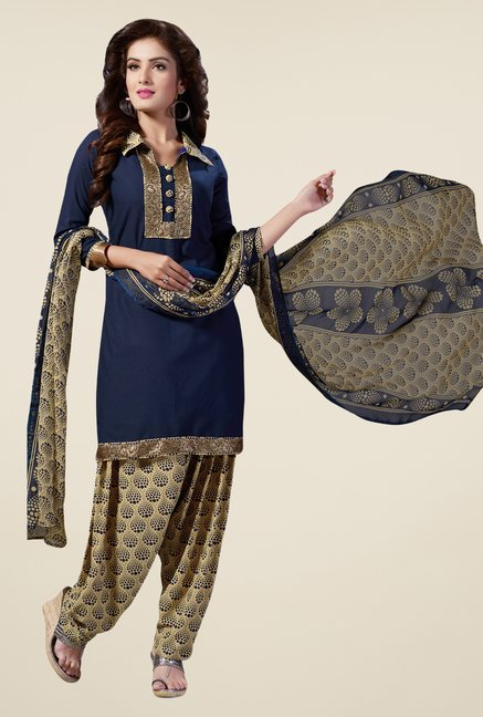 Salwar Studio Navy & Beige Synthetic Solid Dress Material