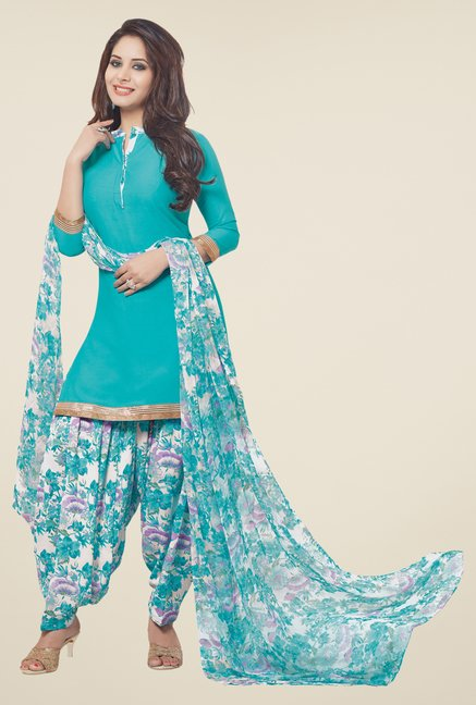 Salwar Studio Turquoise & White Solid Dress Material