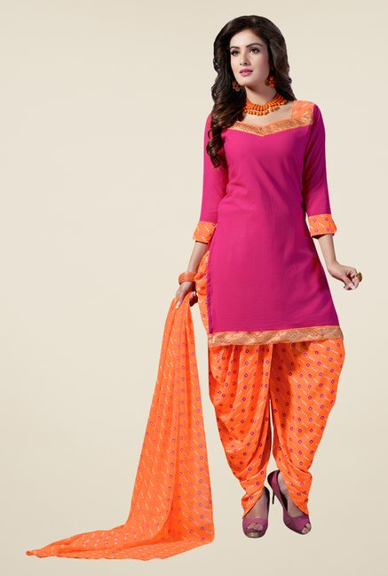 Salwar Studio Pink & Orange Synthetic Solid Dress Material