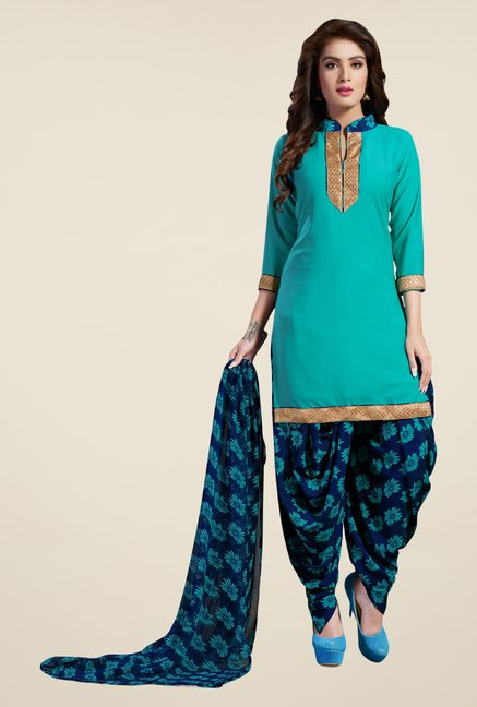Salwar Studio Turquoise & Navy Solid Dress Material