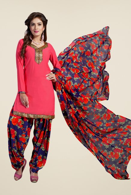 Salwar Studio Coral & Navy Synthetic Solid Dress Material