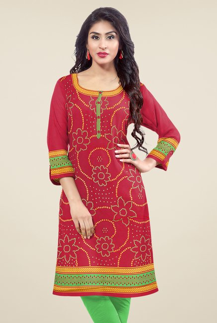 Salwar Studio Red Unstitched Bandhani Kurti Fabric