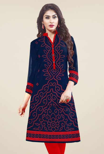 Salwar Studio Navy Unstitched Bandhani Kurti Fabric