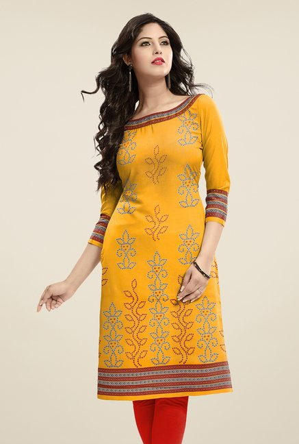 Salwar Studio Yellow Unstitched Bandhani Kurti Fabric