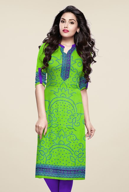 Salwar Studio Green Unstitched Bandhani Kurti Fabric