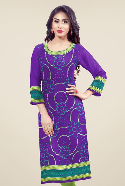 Salwar Studio Purple Unstitched Bandhani Kurti Fabric