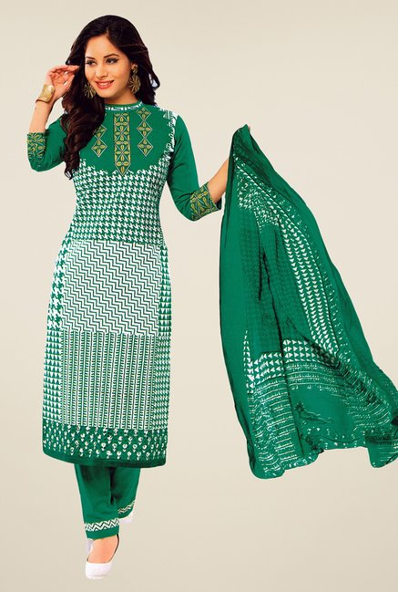 Salwar Studio Green Printed Dress Material