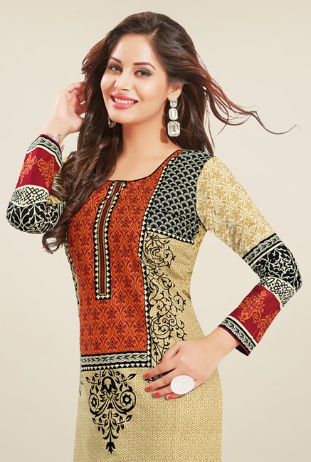 Salwar Studio Beige & Black Printed Dress Material