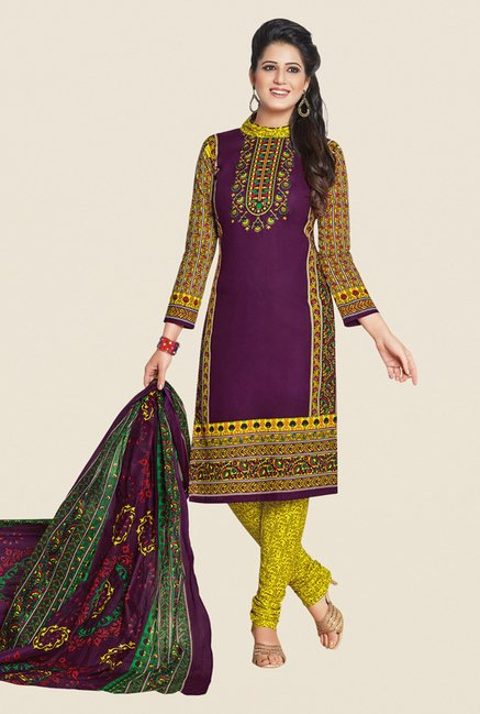 Salwar Studio Purple & Yellow Printed Dress Material