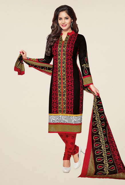 Salwar Studio Black & Red Printed Dress Material