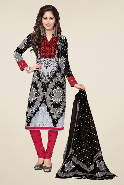 Salwar Studio Grey & Magenta Printed Dress Material