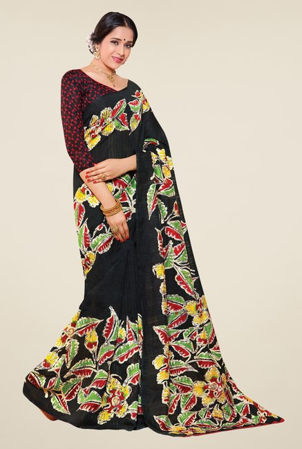 Salwar Studio Black Cotton Blend Floral Print Saree